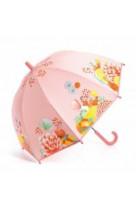 Parapluie rose jardin fleuri